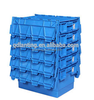 China nestable tote box plastic attached lid totes