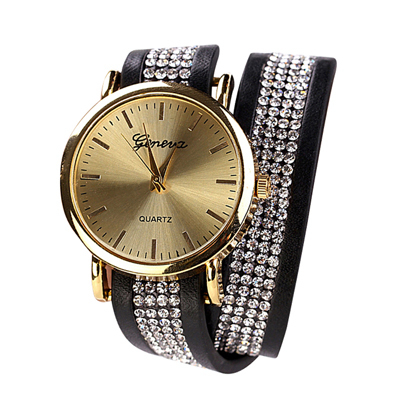 Women Fashion Wristwatches Women's PU Leather Imitation Crystal Decorative Bracelet Watches Woman Casual Watch