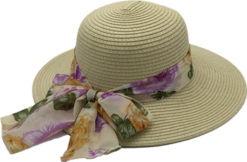 Wholesale Summer Beach Paper Scarve Straw Hat For Ladies