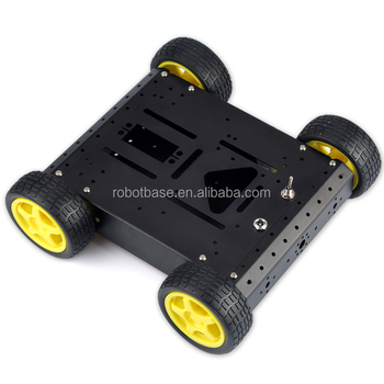 AS-4WD Robotic Aluminum Mobile Robotic Platform,Car chassis(Black)