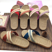 Wholesale Low MOQ Candy Color Flax Household Anti-slip Thick Bottom Unisex Summer Criss-cross Linen Slippers