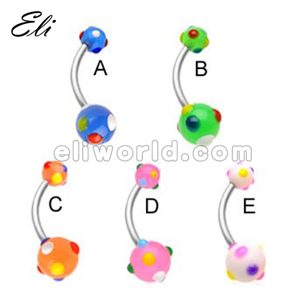 2014 Latest Acrylic Balls Body Jewelry Belly Ring