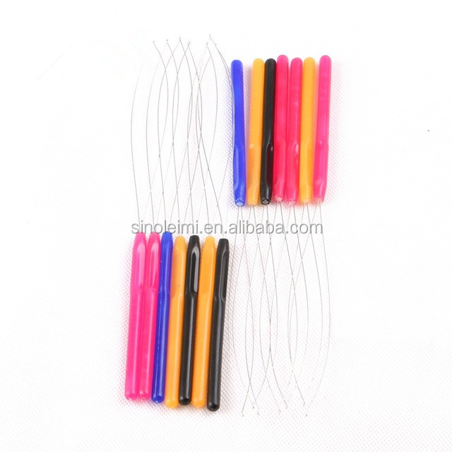 100 pcs/Lot Plastic Handle Threader / Stainless Steel Wire / Pulling Micro Rings Links / Loop Hair Extension Tools