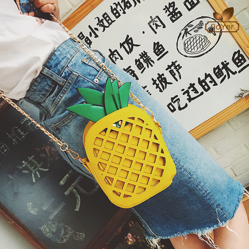 Personality pineapple shaped mini crossbody bag leather cell phone shoulder bag