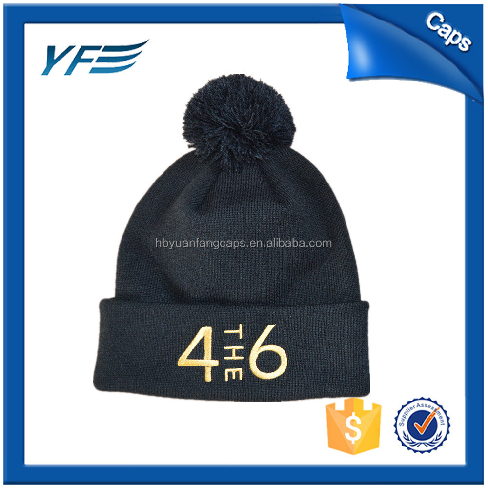custom 3d embroidery knitted pom beanie hat/mens knitting winter hat
