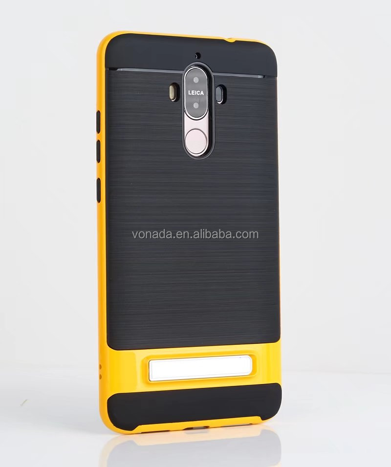 Brushed Back Hybrid Armor Case with Kickstand for Huawei Mate 9