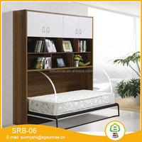 Modern transformable wall bed with bookcase