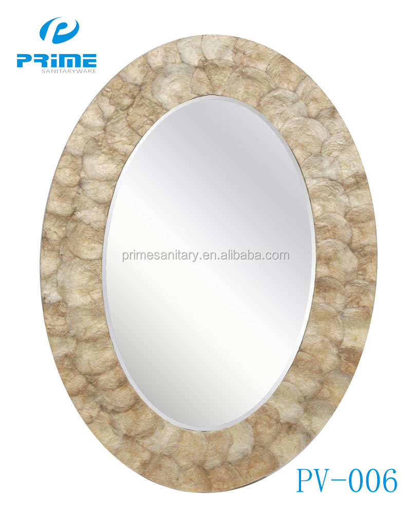PRIME Champagne Golden Silver framed glass round decorative wall mirror