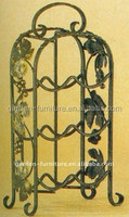 counter shelf table top bar display 6 bottles holder / grape leaves decor metal wire wine rack