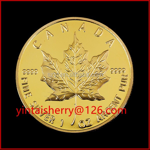 Maple leaf replica coin/ gold plated tungsten coin for Gift