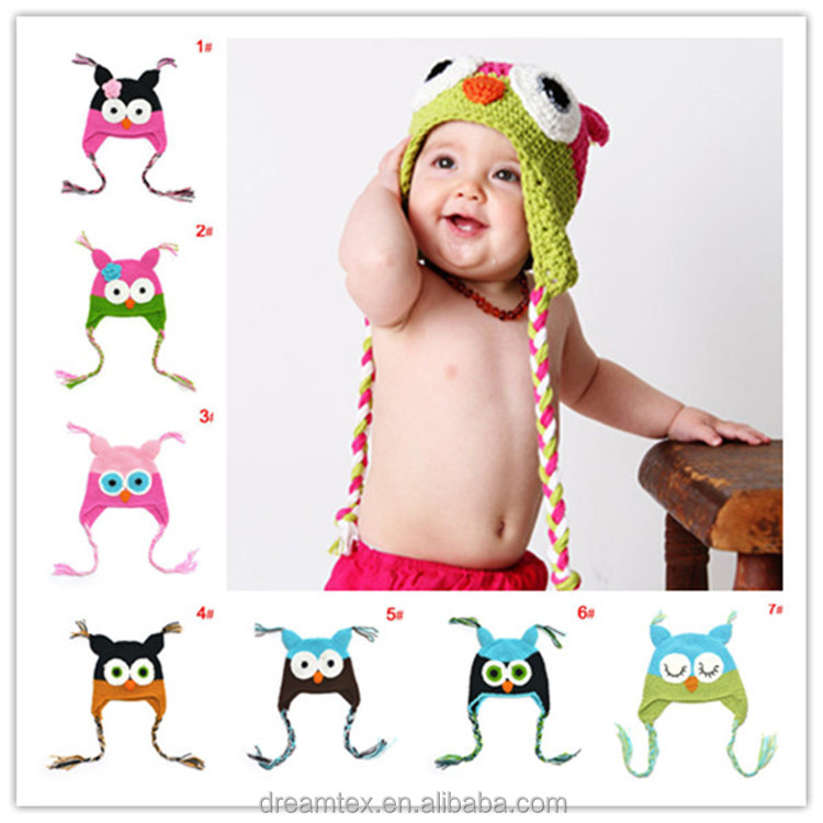 Baby cute Owl knit hat comfortable crochet baby hat Baby wool cap