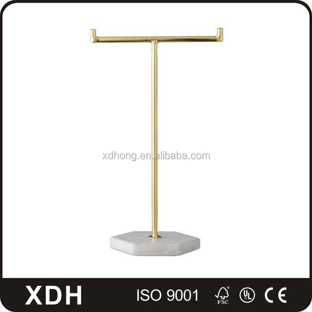 High end metal gold jewelry rack retail floor jewelry display neck stand