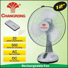 12'' ac/dc table fans light rechargeable battery with remoter