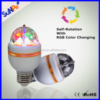 Hot Sale Smart Color Changing 3W E27 Rotating Led Disco Ball Light Party Bulb For KTV Bar Decoration