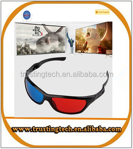 universal 3D plastic glasses/oculos/red blue cyan 3D glass anaglyph 3D vision/cinema wholesale