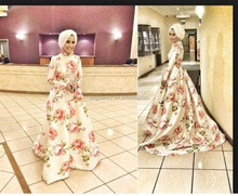2015 Arabic popular design floral long sleeve simple elegant wedding dress OW52
