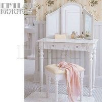 French style silvery white bedroom furniture antique wood makeup dresser with mirror