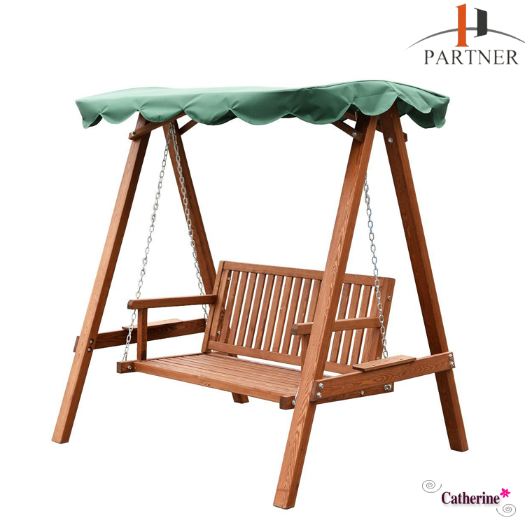 Outdoor Patio Swing Wooden Canopy Chair hammock with space saving steel stand