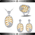 Gold Sterling Silver Earring Ring Necklace Jewelry Set