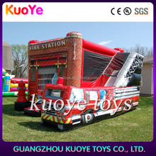 inflatable jump play space for children, newest fire truck inflatable bounce house slide, fire engine jumping castle inflatable