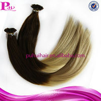 wholesale keratin flat tip hair extension,two tone ombre colour sliky straight pre-bonded flat tip hair