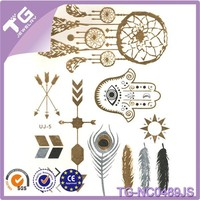 Customized widely used body prints temporary tattoo Fatima hand feather tattoos in stock 21cm*15cm