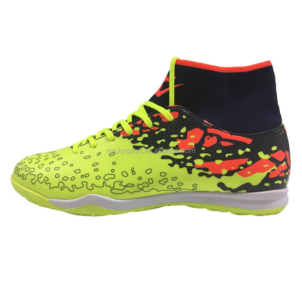 oem design durable futsal indoor turf sports high top football soccer shoes