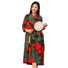 Ethnic Chinese Traditional Clothing Long Sleeve Dress