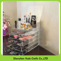 6 tier clear makeup organizer jewelry display case acrylic storage box with drawer