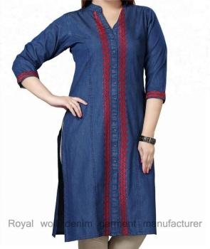 Royal wolf denim robe fabricant dames jeans kurta kurti vêtements brodé kurta denim