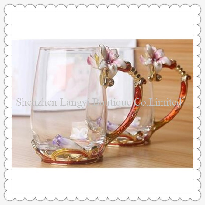 high quality drinking water cup gold line leadfree crystal colored enamel water glass