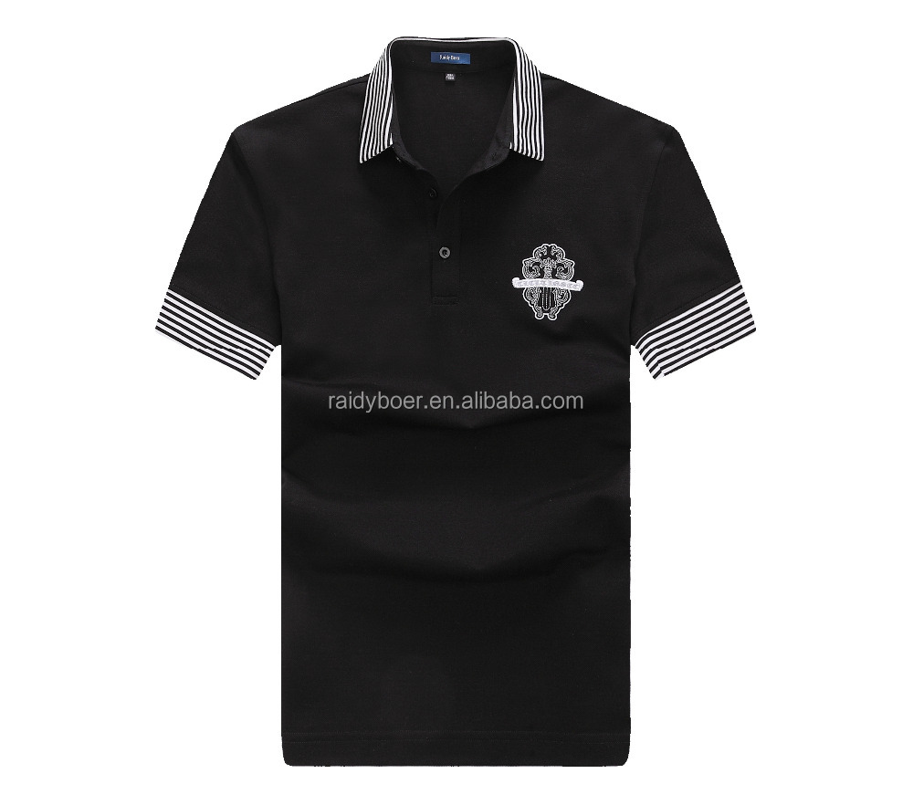 Black high quality embroidered free sample polo shirt