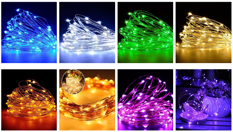 Protected 2m 3m 5mto 100m 30 LEDs outdoor copper wire string lights CR2032 Super cheap battery powered