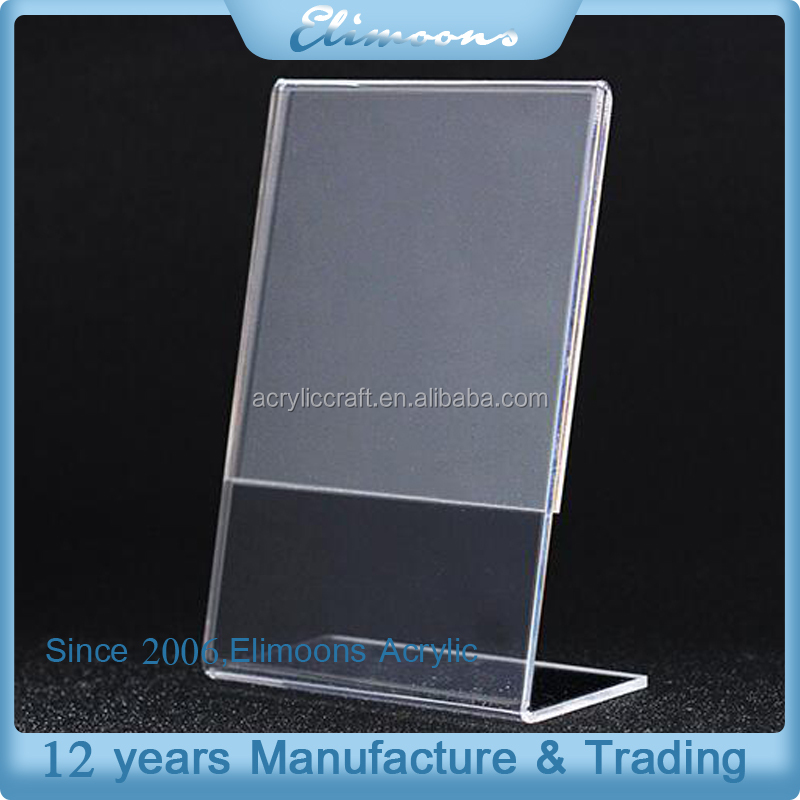 Eco-friendly Wholesale Manafacturer Custom Clear Counter Slant Display Stand Rack Tent Card Acrylic Sign Holder 5x7