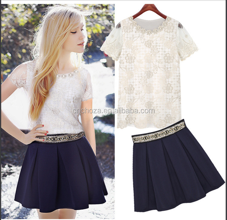 Z10849A New Sexy Ladies Embroidered Lace Shirt Short Sleeve Women Tops Blouse