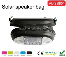Hottest! Fashion Mini solar stereo speaker bag with 5200mAH power bank for smartphone