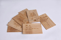 customized antique wooden bamboo business card engraved