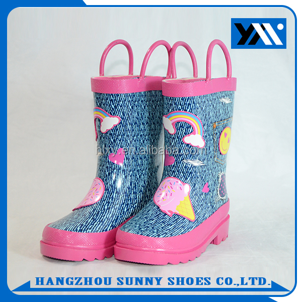 Lovely Printed kids wellies wellington Rubber Rain boots for girls