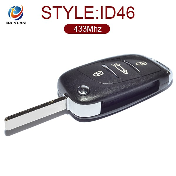 Quality confirmed for Peugeot automotic key chip ID46 with 3 button 433Mhz AK009030