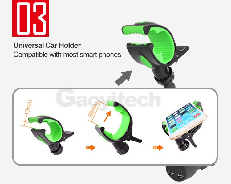Manufacture price 2 USB charger with phone holder car phone holder with charger