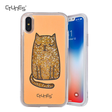 Squinting Cat Printed Fashion Liquid Flowing Sparkle Quicksand Soft TPU Bumper Glitter Hard Back Cases For Apple iPhone X