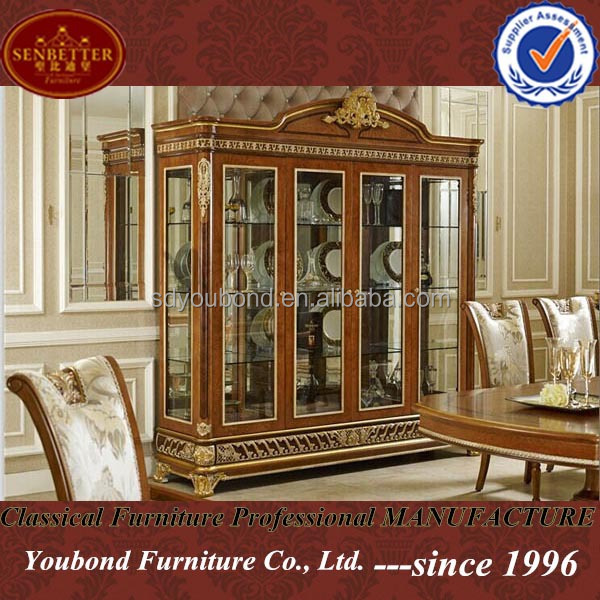2015 Luxury Living Room Showcase Design0062 Antique Wooden And Glass
