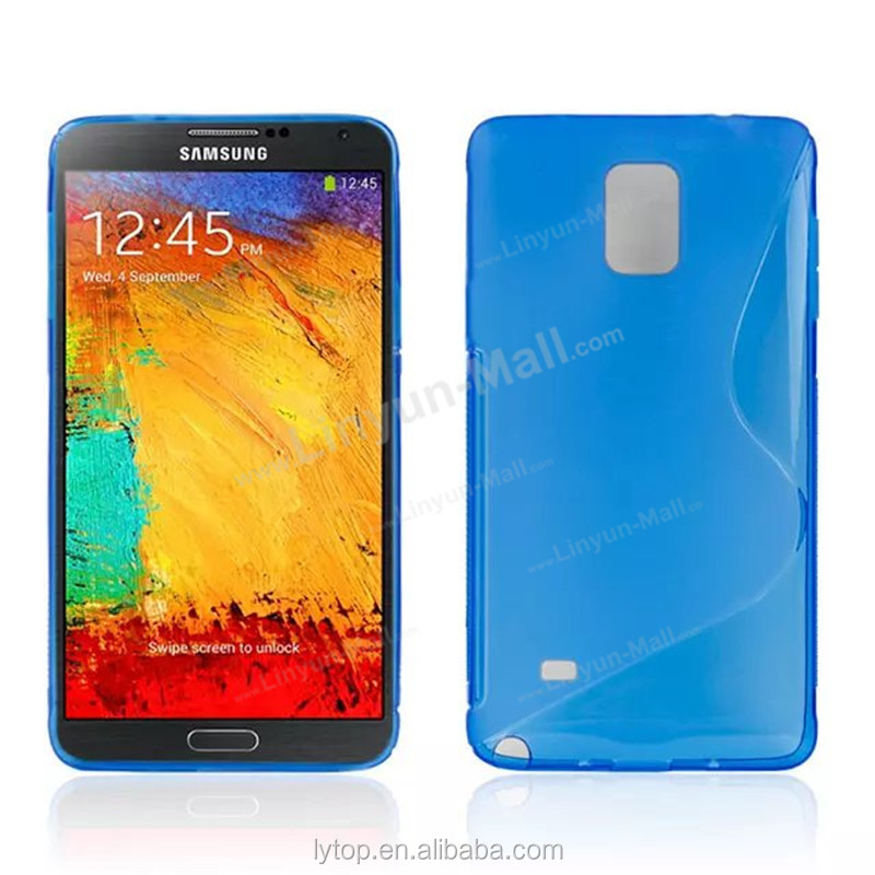 Rubber gel S-line TPU case for samsung note 4, soft for samsung note 4 back case