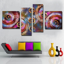 Wholesale dropship modern abstract decorative oil painting on canvas 4 pieces/set for living room