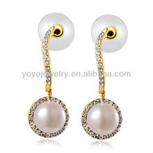 E826 Hot sale crystal latest design of pearl earring cz stud rose gold filled earrings