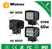 New product 12v 24v high power 60w square led work light, cars high intensity led light, led car head worklight