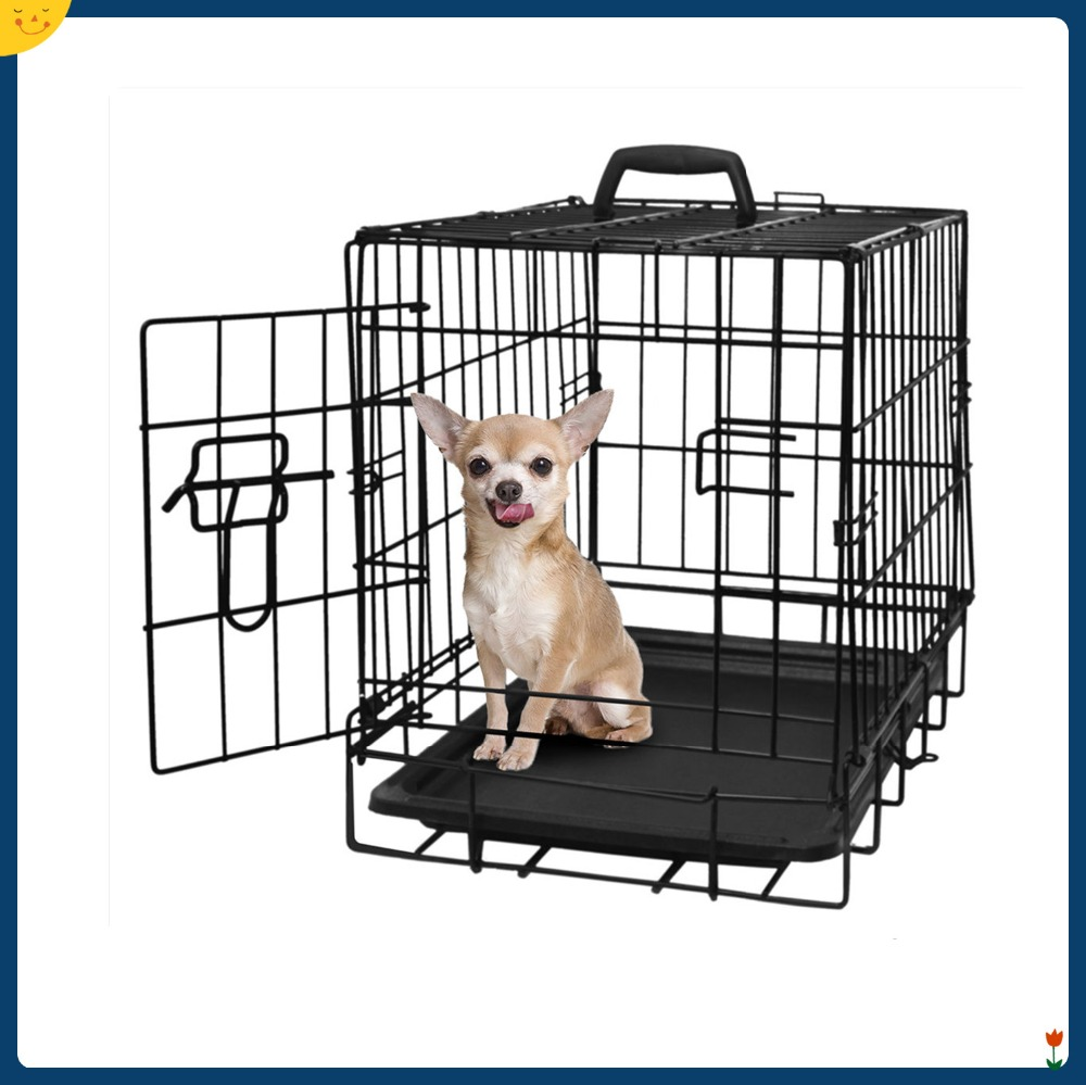 "2 Doors Black 24"" Pet Folding Suitcase Dog Cat Crate Cage Kennel Pen w/ABS Tray"