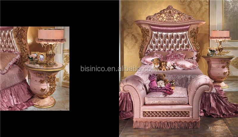 European Royal Bedroom Furniture,Italy Style Children Bedroom Set,Luxury Wood Carving Uphostered Bed Blue Color