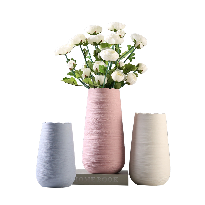 European hot selling matt colored pink decorative ceramic vase for decor