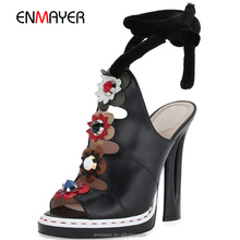 Latest designed exclusive Italian new brand fashion genuine leather pu open toe flower rhinstone strap bandage high heel ladys s